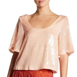 Free People Night Fever Pink Sequin Tee